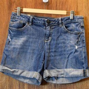 LAUREN CONRAD Distressed Light Wash Denim Shorts